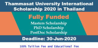Thammasat University International Scholarship 2020 in Thailand