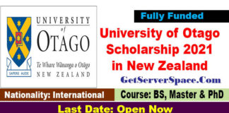 University of Otago Scholarship 2021 in New Zealand Fully Funded