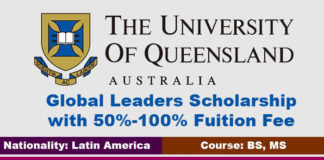 University of Queensland Global Leaders Scholarship 2020 in Australia