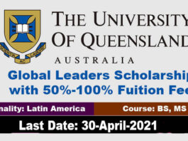 University of Queensland Global Leaders Scholarship 2021 in Australia