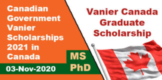 Canadian Government Vanier Scholarships 2021 in Canada (Fully Funded)