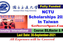 NCTU International Student Scholarships 2021 In Taiwan [Fully Funded]