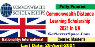 Commonwealth Distance Learning Scholarship 2021 in UK [Fully Funded]