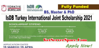 IsDB Turkey International Joint Scholarship 2021 in Turkey [Fully Funded]