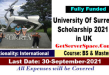 University Of Surrey Scholarship 2021-22 in UK for BS & MS [Fully Funded]